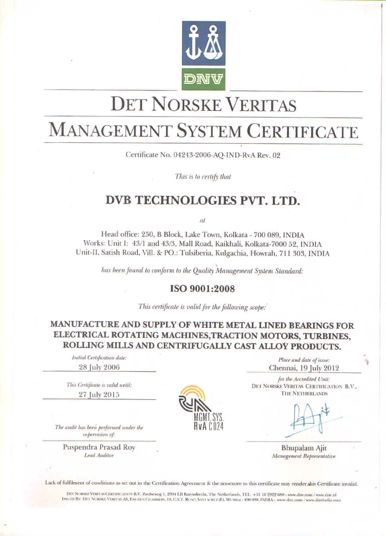 Iso Certifications Dvb Technologies Pvt Ltd Specialized In White